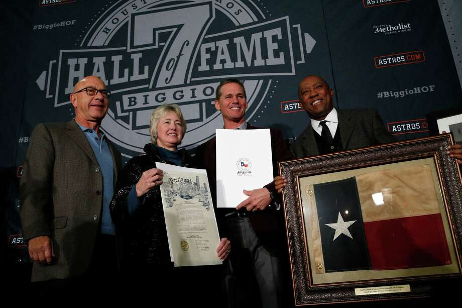 Senator John Whitmire, Mayor Annise Parker, Craig Biggio, and Sylvester Turner with all of Biggio's declarations and a Texas flag that flew over the Texas State Capitol during  the Hall of Fame celebration for Craig Biggio at Union Station, Friday, Jan. 9, 2015, in Houston. Photo: Karen Warren, Houston Chronicle / © 2014 Houston Chronicle