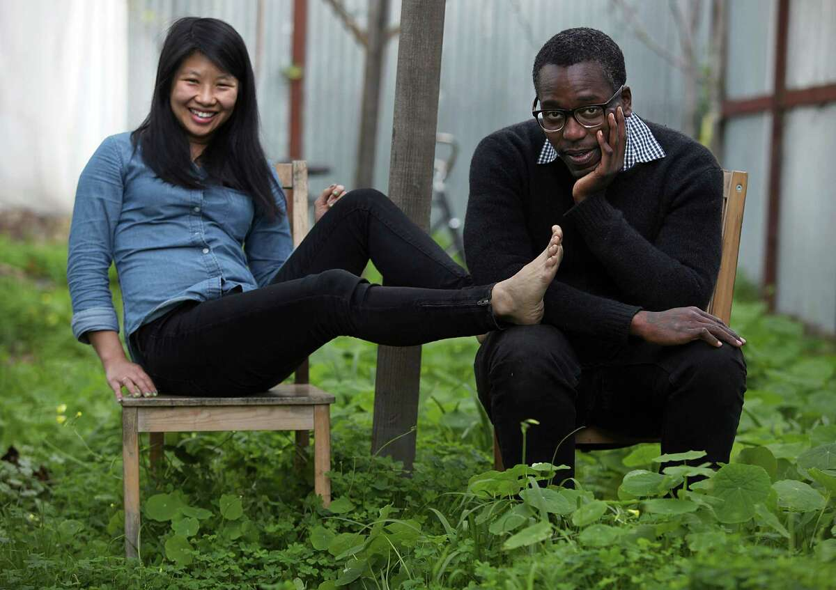 Dancers Sophia Wang (left) and Brontez Purnell (right) who will be performing at the Fresh Festival in San Francisco coming on January 16-17 pose before practice at Purnell's home in Oakland, Calif., on Monday, January 5, 2015.