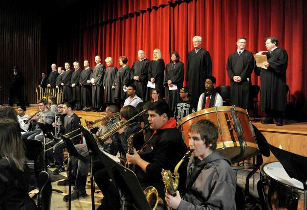 The Schenectady High School Concert Band plays as Judges take the stage during an oath ceremony for Schenectady County Court Judge Matt Sypniewski Friday Jan. 9, 2015, at Schenectady High School in Schenectady, N.Y. (Michael P. Farrell/Times Union) Photo: Michael P. Farrell / 00030123A