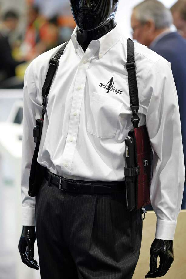 The TechSling smart device holster is displayed during the International CES. Photo: John Locher /Associated Press / AP