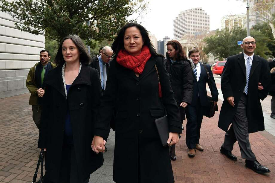 Texas plaintiffs Nicole Dimetman, left, and Cleopatra de Leon had reason to smile after their appearance at the 5th U.S. Circuit Court of Appeals on Friday. Photo: Stacy Revere, FRE / FR 170787AP