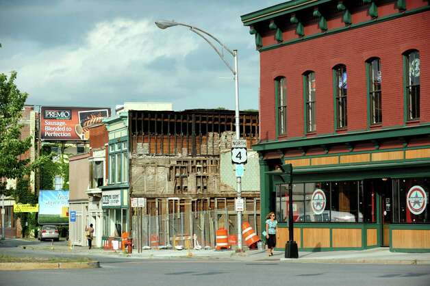 King Street where buildings were demolished on Thursday, Aug. 8, 2013, in Troy, N.Y. (Cindy Schultz / Times Union) Photo: Cindy Schultz / 00023469A