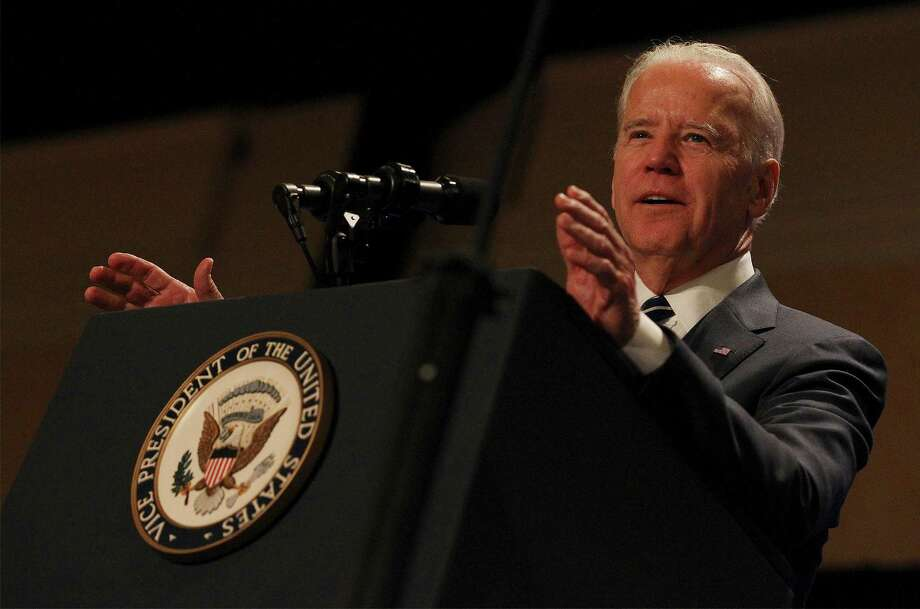 """Vice President Joe Biden encouraged veterans attending the seventh annual Student Veterans of America conference to """"reinvent your enormous talents, your leadership, your experience to help us rebuild this economy."""" Photo: Kin Man Hui /San Antonio Express-News / ©2015 San Antonio Express-News"""