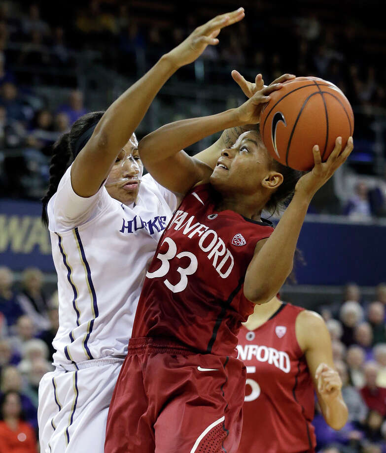 Amber Orrange (right) and Stanford are the No. 3 seed in the Pac-12 tournament, which starts Thursday in Seattle. Photo: Elaine Thompson / Associated Press / AP