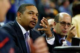 ESPN NBA analyst Jeff Van Gundy, shown telecasting a game with former Warriors head coach Mark Jackson, lived in the Bay Area as a young boy.