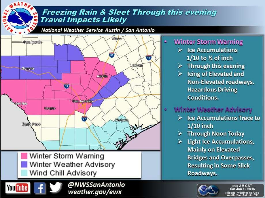 Winter Storm Warning/Winter Weather Advisory continues for Bexar and surrounding counties. Photo: Courtesy National Weather Service Austin-San Antonio