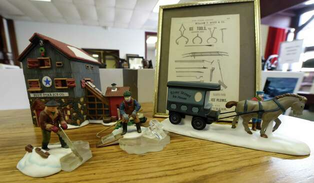 A display of miniature people depicting ice harvesting is on display at the Watervliet Historical Society Friday afternoon, Jan. 9, 2015, in Watervliet, N.Y. The display was set up in advance of a speech on the subject of ice harvesting by Tom Ragosta, president of the Watervliet Historical Society. The event is scheduled for Monday Jan. 12, 2015, at 7 p.m. at the Watervliet Senior Citizens Center. (Skip Dickstein/Times Union) Photo: SKIP DICKSTEIN / 00030115A