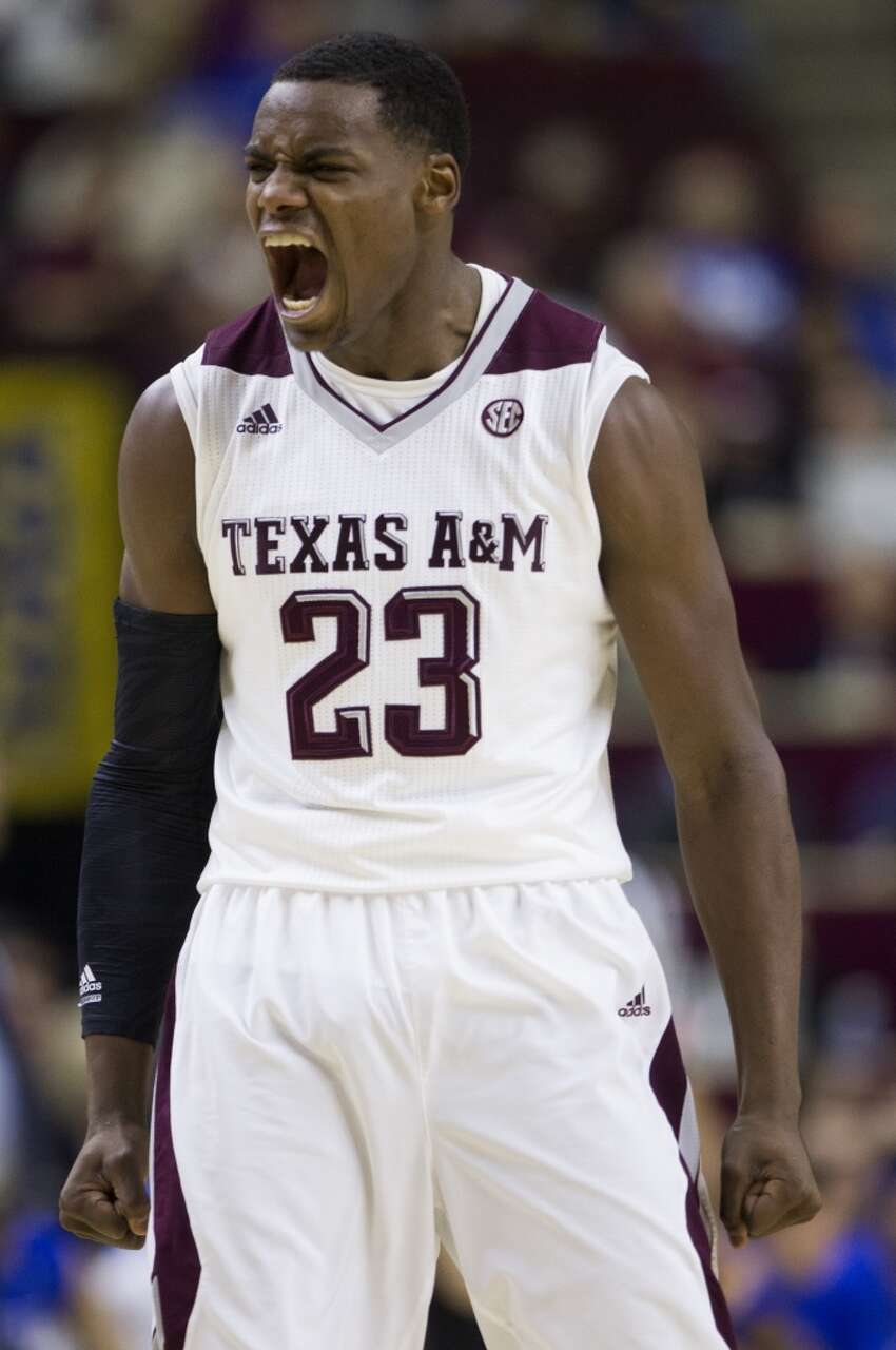 Texas A&M guard Danuel House (23) reacts to a play during the first half of a college basketball game against Kentucky at Reed Arena on Saturday, Jan. 10, 2015, in College Station. ( Brett Coomer / Houston Chronicle )