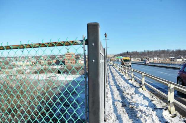 A view of the Route 30 bridge on Thursday, Jan. 8, 2015, in Amsterdam, N.Y.  This is currently how pedestrians cross the river.  (Paul Buckowski / Times Union) Photo: Paul Buckowski / 00030103A