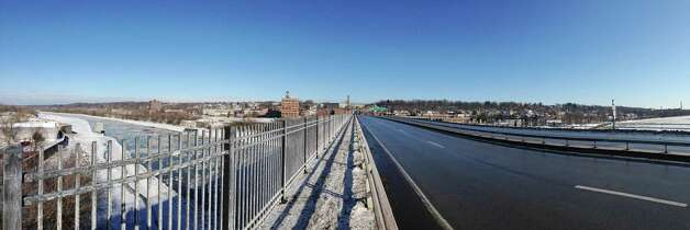 A view from the Route 30 bridge on Thursday, Jan. 8, 2015, in Amsterdam, N.Y.  This is currently how pedestrians cross the river.  On the far left  the Mohawk Valley Gateway Overlook bridge will be built.   The supports for the bridge are seen in the river.  (Paul Buckowski / Times Union) Photo: Paul Buckowski / 00030103A