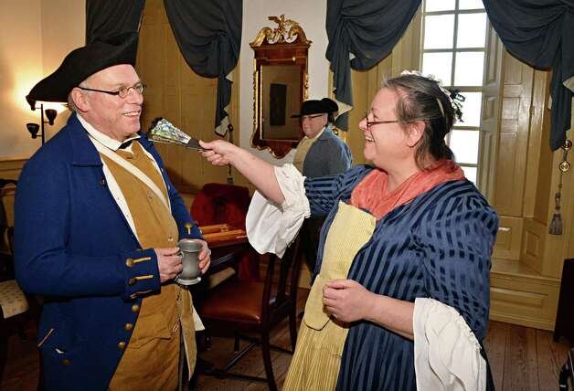 Dressed in18C clothing, Stuart and Ruth Lehman of Guilderland celebrate Twelfth Night in the Blue Parlor at the Schuyler Mansion Saturday Jan. 10, 2015, in Albany, NY.  (John Carl D'Annibale / Times Union) Photo: John Carl D'Annibale / 00030135A
