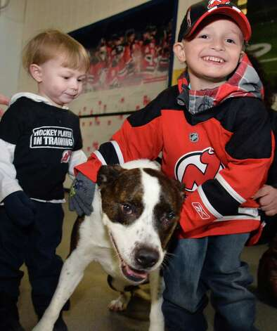 Brayden Cooper, 4, and his brother Jason, 2, with their grandfathers dog Julez during the fifth annual OPucks and PawsO night at Times Union Center as fans bring their dogs to watch the Bridgeport Sound Tigers battle the Albany Devils  Saturday Jan. 10, 2015, in Albany, NY.  (John Carl D'Annibale / Times Union) Photo: John Carl D'Annibale / 00030087A