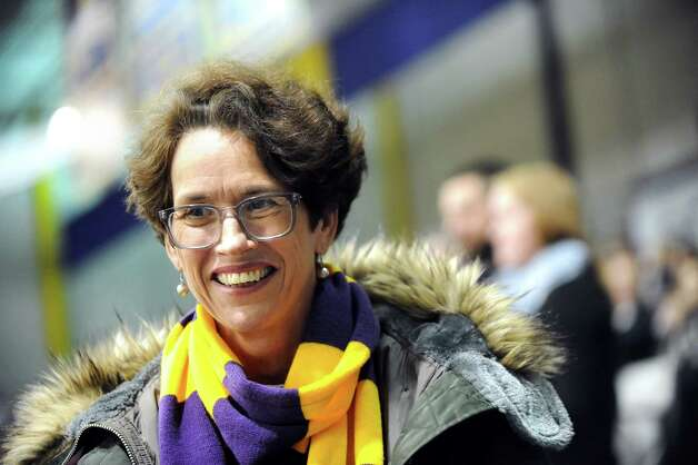 Catherine Rowley, mother of UAlbany players Sam and Mike Rowley, watches their basketball game against Maine on Saturday, Jan. 3, 2015, at SEFCU Arena in Albany, N.Y. (Cindy Schultz / Times Union) Photo: Cindy Schultz