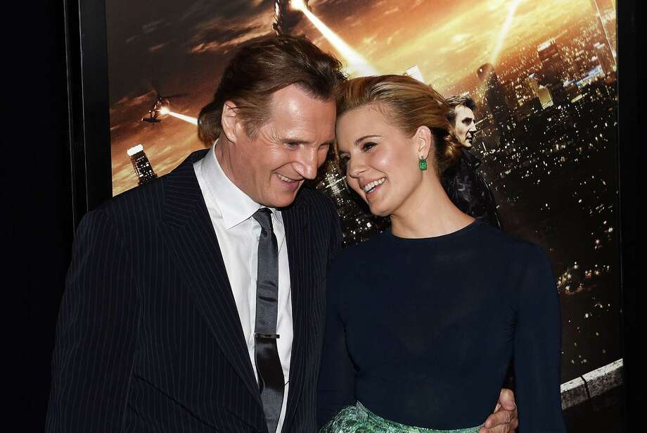 "Liam Neeson, who plays Maggie Grace's father in the ""Taken"" movie series, are like family offscreen as well. Photo: Andrew H. Walker / Andrew H. Walker / Getty Images / 2015 Getty Images"