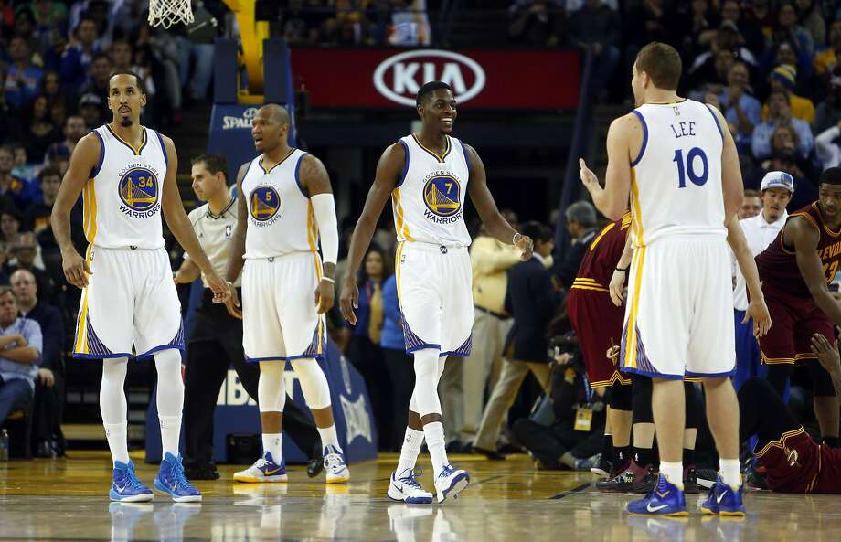Golden State Warriors' Shaun Livingston, Marreese Speights, Justin Holiday and David Lee during 3rd quarter of 112-94 win over Cleveland Cavaliers during NBA game at Oracle Arena in Oakland, Calif. on Friday, January 9, 2015. Photo: Scott Strazzante, The Chronicle