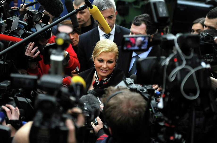 "Kolinda Grabar-Kitarovic, a former foreign minister, defeated the center-left incumbent Ivo Josipovic. She called the result ""a glorious night for all Croats."" Photo: STR / AFP/Getty Images / AFP"