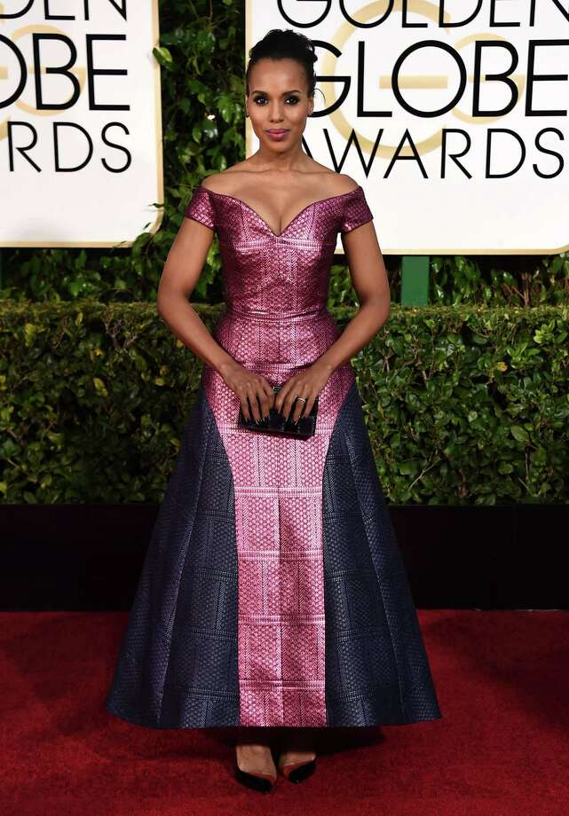 Kerry Washington turns heads in this awkward Mary Katrantzou bi-color gown. Photo: Jordan Strauss / Associated Press / Invision