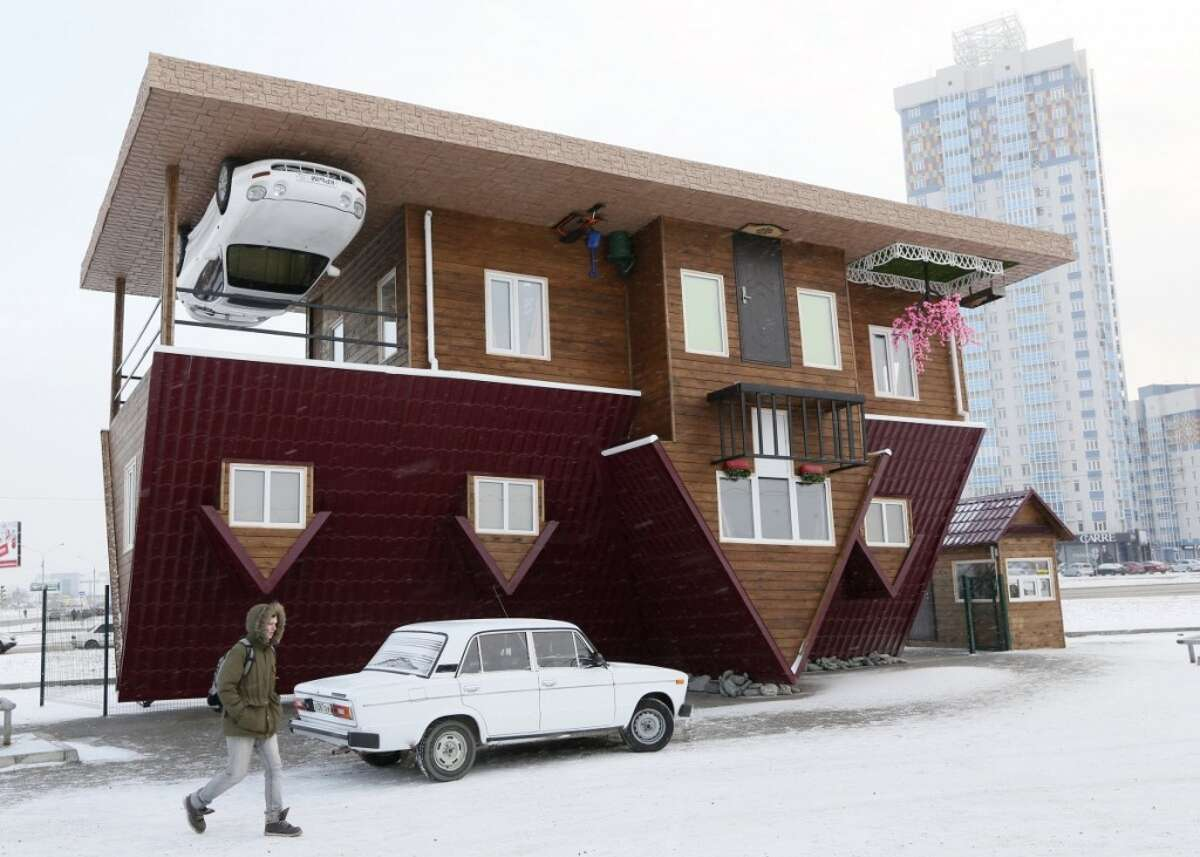 Because everyone needs a change in perspective occasionally, this home was built in Russia's Siberian city of Krasnoyarsk. Photo: Business Insider/REUTERS/Ilya Naymushin