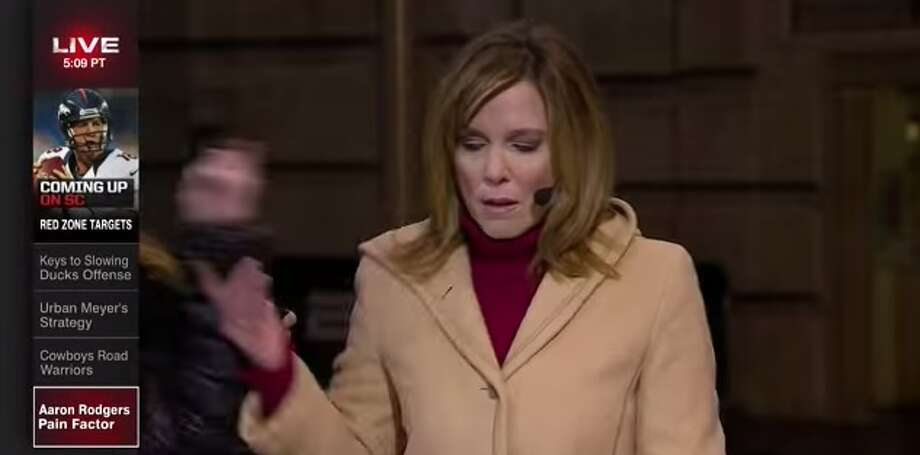 ESPN news anchor Hannah Storm can be seen shoving a makeup artist away prior to a newscast preceding the Dallas Cowboys game. Photo: Youtube/Twitter