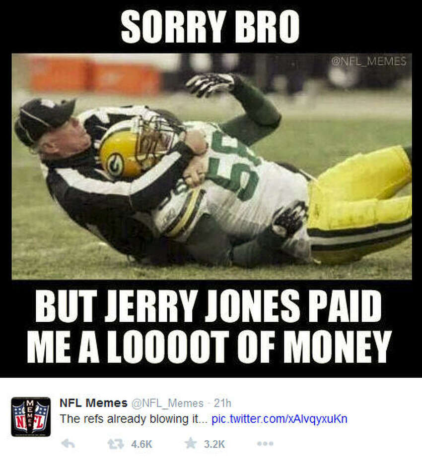January 11, 2015 Dallas Cowboys @ Green Bay Packers, Score: 21-26 Photo by @NFL_Memes