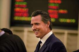 Lt. Gov. Gavin Newsom arrives at the State Capitol in Sacramento on Jan. 5.
