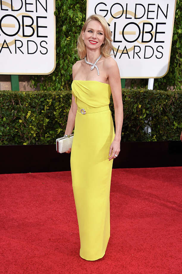 BEST: Naomi Watts, in Gucci, wears one of our favorite combinations: Ice blonde wearing bright yellow with red lipstick, which is to say nothing of her Bulgari serpent necklace. Photo: Frazer Harrison, Getty Images / 2015 Getty Images