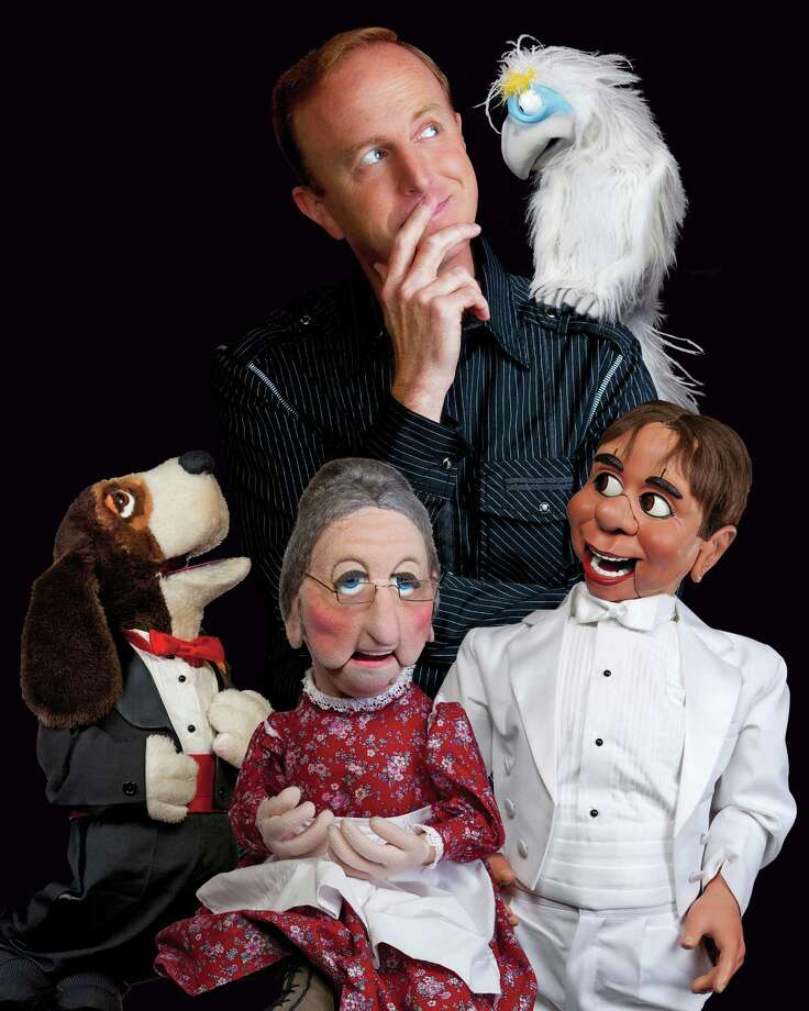"David Pendleton, who has been bringing his comic ventriloquist act to stages around the country, will be arriving with his quartet of ""co-stars,"" including the albino vulture Vern, Buford, Aunt Tilly and Mack Elroy, to the Palace Theatre in Stamford, Conn. Pendleton is set to put on two shows Friday, Jan. 23, 2015. Photo: Contributed Photo / Stamford Advocate Contributed photo"