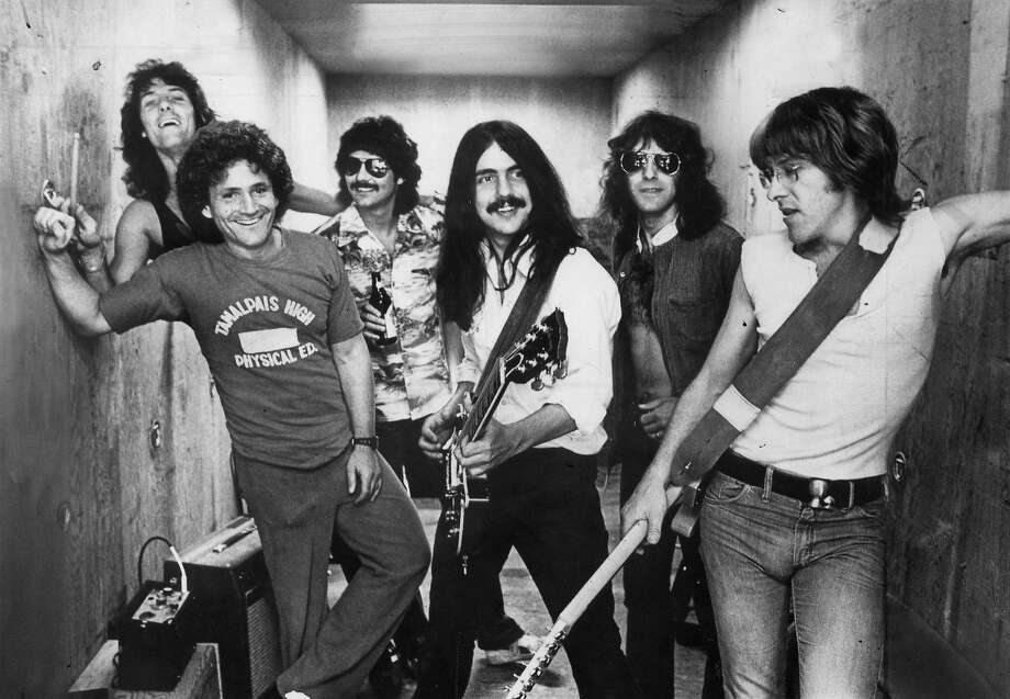 Jefferson Starship, circa 1980. Band members left to right; Aynsley Dunbar, David Freiberg, Mickey Thomas, Craig Chaquico, Pete Sears & Paul Kantner. Photo: Roger Ressmeyer, Chronicle Archives