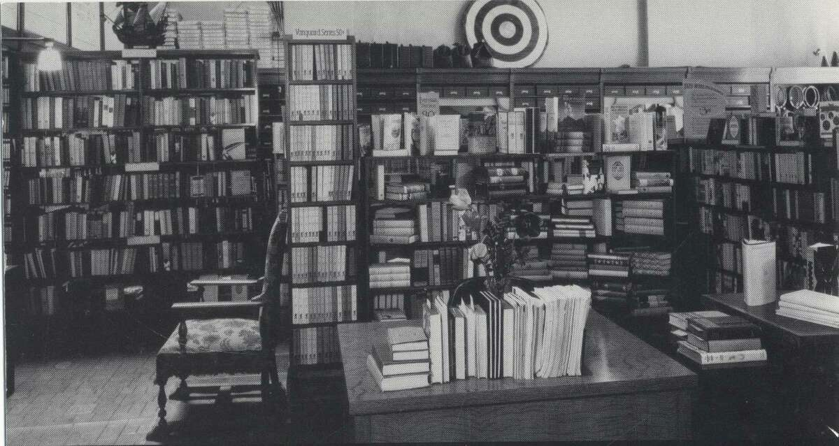 Vintage interior of the bookstore, 1930s.