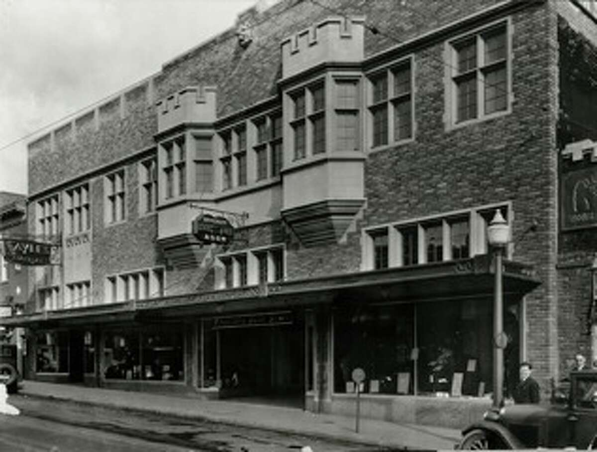 Vintage exterior of the University Book store on The Ave - University Way Northeast in Seattle - circa early 1930s.