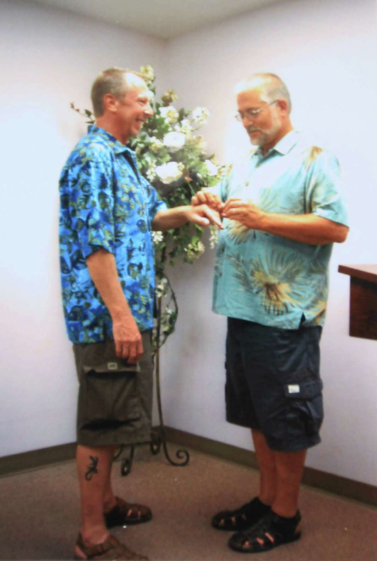 Rains (left) and Don Condit were married in 2008 at Condit's parents' home in Riverside County, but lived in Texas.