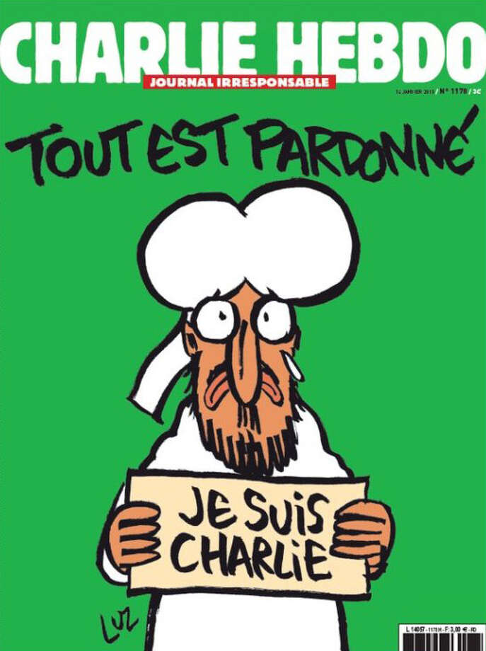 "The first Charlie Hebdo cover since the massacre in Paris features a cartoon depiction of the Prophet Mohammed holding a ""We are Charlie Hebdo"" sign under the title ""All is forgiven."""