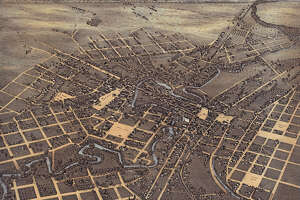 Augustus Koch (1840–?). Bird's Eye View of the City of San Antonio Bexar County Texas, 1873. Lithograph (hand-colored), 23.2 x 28.5 in. Published by J. J. Stoner, Madison, Wis. Center for American History, The University of Texas at Austin.