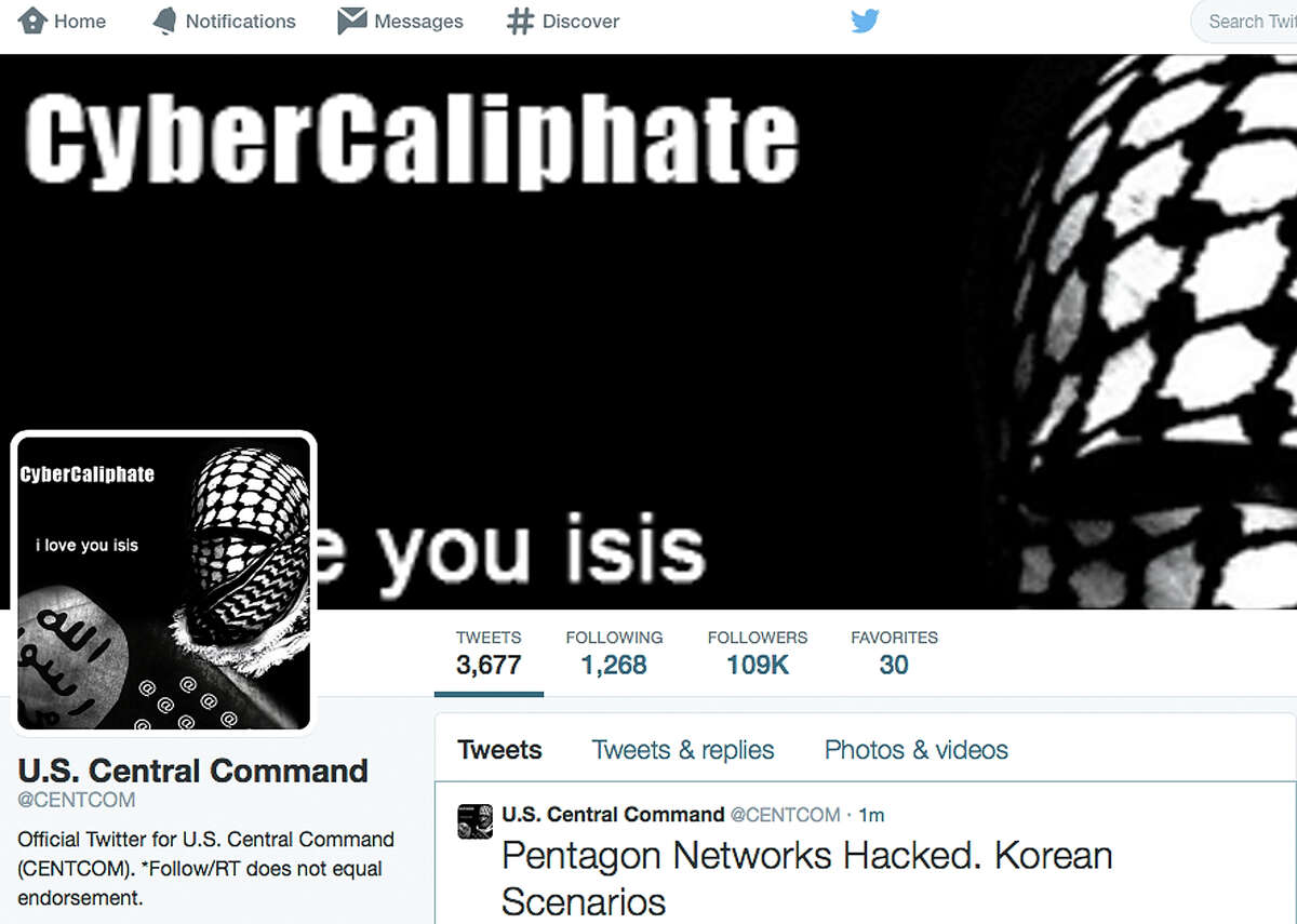 A screen grab shows the front page of the military's U.S. Central Command twitter account after is was hacked. The twitter site of the command also was taken over.