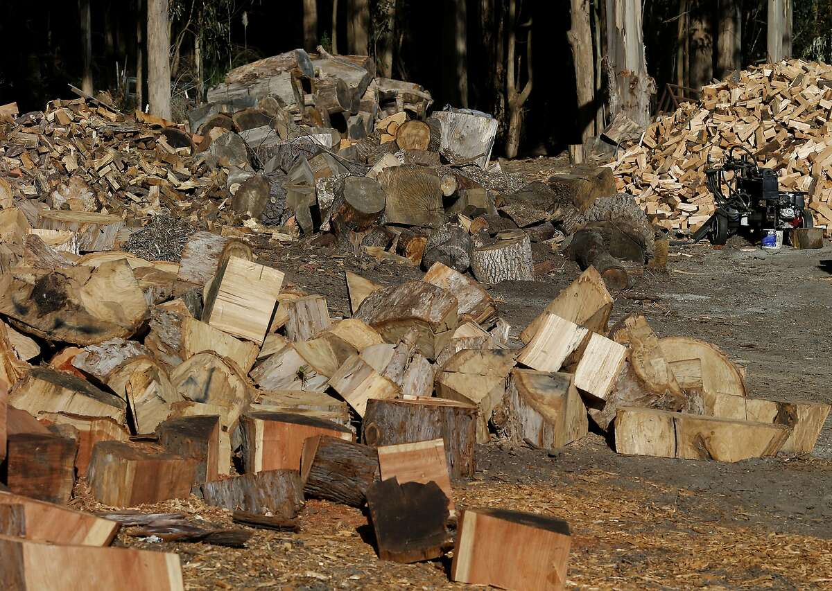 Piles of firewood, some chopped, some not, sit unsold on the property at Firewood Farms Monday August 12, 2015. James Olsen of Firewood Farms has seen a seventy percent drop in firewood sales because of the record number of