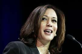 FILE - In this March 8, 2014, file photo, California Attorney General Kamala Harris speaks during a general session at the California Democrats State Convention in Los Angeles. Barbara Boxer announced Thursday, Jan. 8, 2015, that she will not seek re-election in 2016. Among likely Democratic candidates are Harris and Lt. Gov. Gavin Newsom, both of whom cruised to re-election last fall. Each offered statements Thursday praising Boxer's tenure, which will end in two years, but did not say if they will run in 2016. (AP Photo/Jae C. Hong, File)