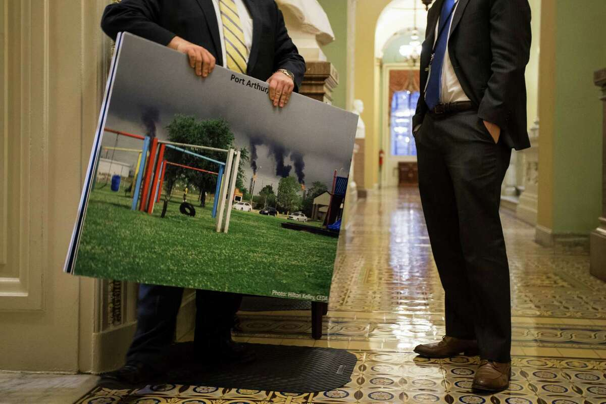Photos and charts are prepared for the Senate debate on the Keystone pipeline. The White House has repeatedly threatened to veto the measure.