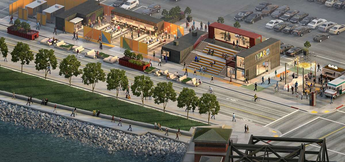 A proposal to transform a swath of the parking lot across from AT&T Park into a pop-up park with a beer garden, coffee shop, retail stores and a deck under a plan the Port of San Francisco will unveil today. Called The Yard, the 18,000 square foot temporary project is being pitched as a way to activate a portion of the property while the San Francisco Giants work on a much larger mixed-use housing and office development on the property.