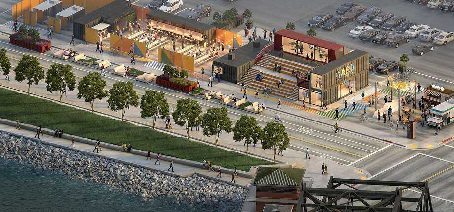 A proposal to transform a swath of the parking lot across from AT&T Park into a pop-up park with a beer garden, coffee shop, retail stores and a deck under a plan the Port of San Francisco will unveil today. Called The Yard, the 18,000 square foot temporary project is being pitched as a way to activate a portion of the property while the San Francisco Giants work on a much larger mixed-use housing and office development on the property. Photo: Steelblue