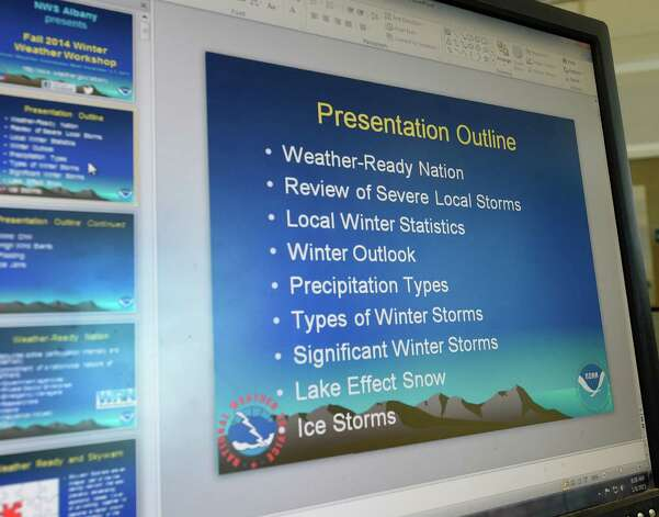 A screen shot of the PowerPoint that is used to train weather spotters by the National Weather Service Thursday, Jan. 8, 2015, in Albany, N.Y.  (Skip Dickstein/Times Union) Photo: SKIP DICKSTEIN / 00030094A