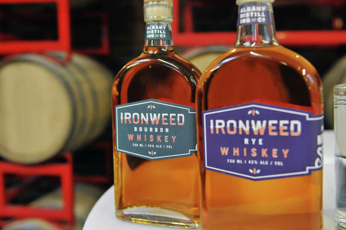 Two of the products made at the Albany Distilling Company seen here on Monday, Jan. 12, 2015, in Albany, N.Y. Senator Charles Schumer held a press event at the distillery to push for crop insurance for New York State malt barley farmers. (Paul Buckowski / Times Union)