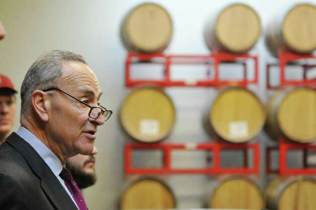 Senator Charles Schumer talks about the need for crop insurance for New York State malt barley farmers during a press conference at the Albany Distilling Company on Monday, Jan. 12, 2015, in Albany, N.Y.   (Paul Buckowski / Times Union) Photo: Paul Buckowski / 00030154A