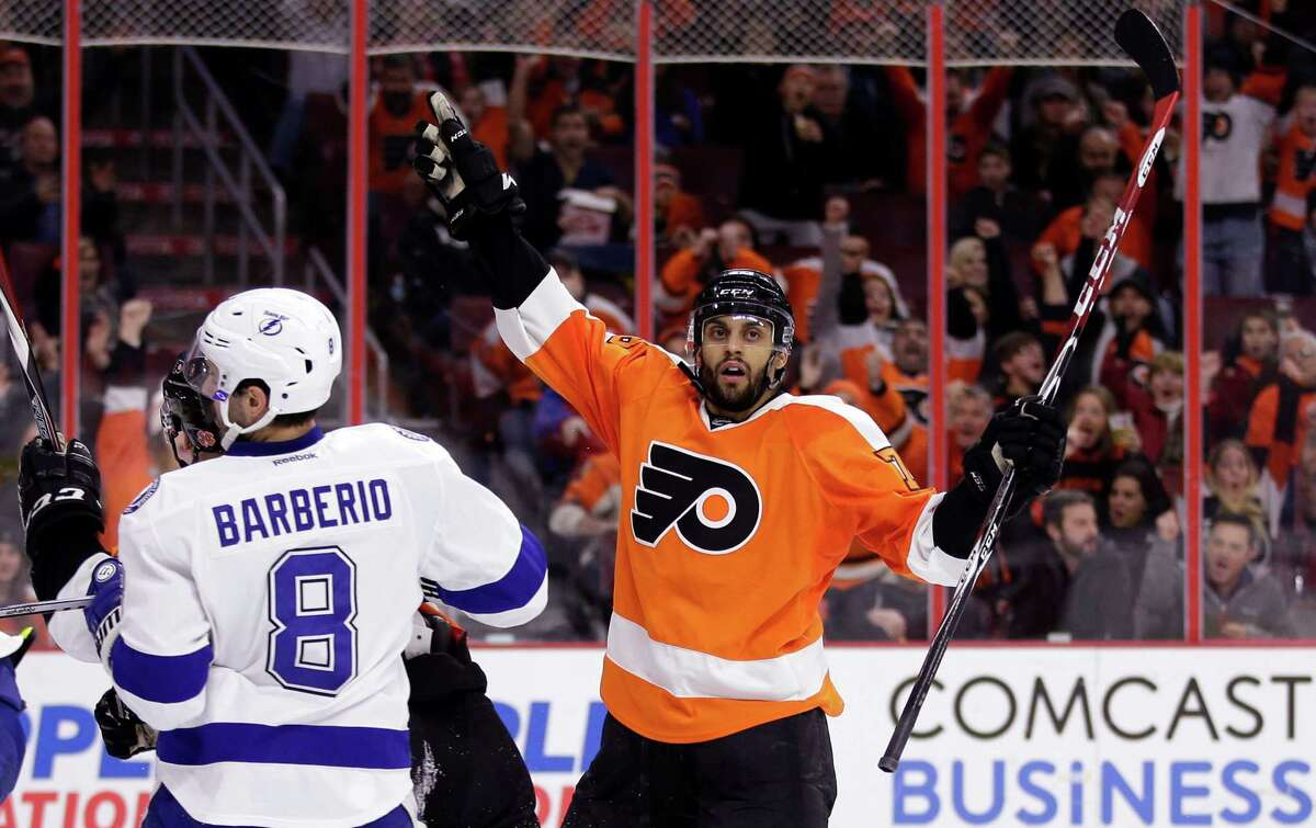 Philadelphia's Pierre-Edouard Bellemare celebrates after scoring in the second period.