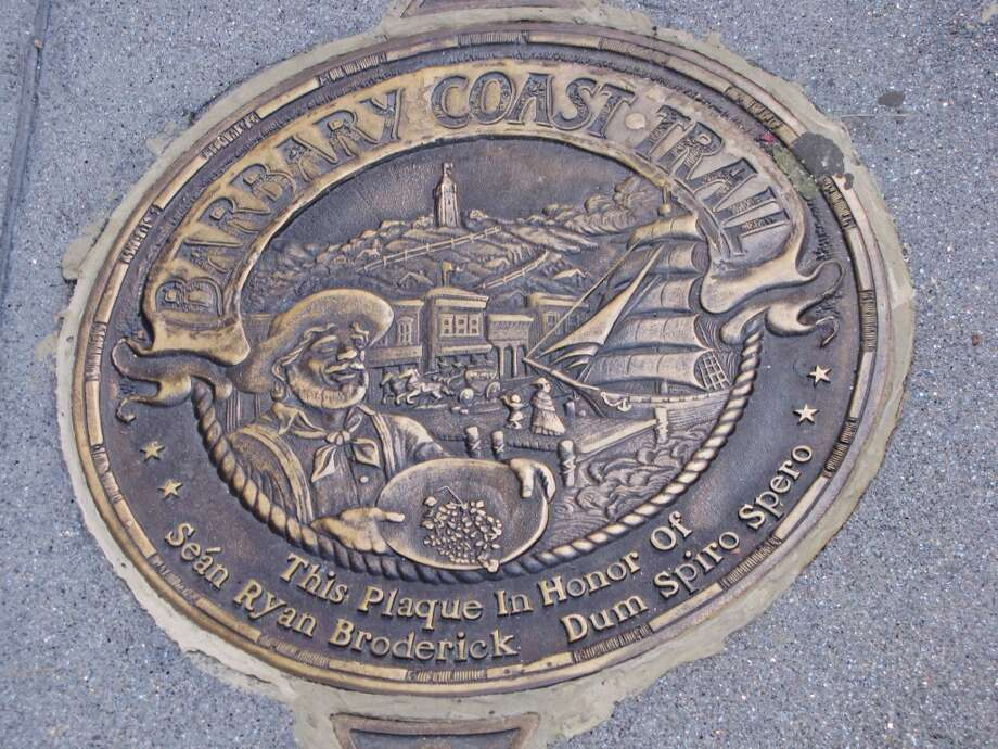 The Barbary Coast Trail starts at the Old U.S. Mint on 5th Street and winds 3.8 miles along through the city to Aquatic Park. 170 bronze medallions serve as trail markers. Highlights include Gold Rush-era buildings, the oldest Catholic cathedral west of the Rockies, a World War II submarine and more. Photo: Stephanie Wright Hession