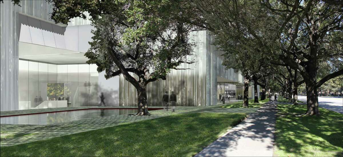 The planned Nancy and Rich Kinder Building will have two entrances. This view looks north on Main Street with a canopy of existing trees. the design is by Steven Holl Architects.