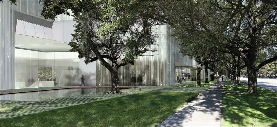The planned Nancy and Rich Kinder Building will have two entrances. This view looks north on Main Street with a canopy of existing trees. the design is by Steven Holl Architects. Photo: Steven Holl Architects