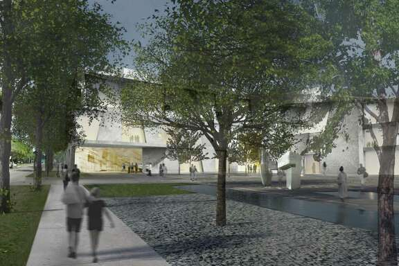 A view of the planned Glassell School of Art from the planned Brown Foundation, Inc. Plaza.