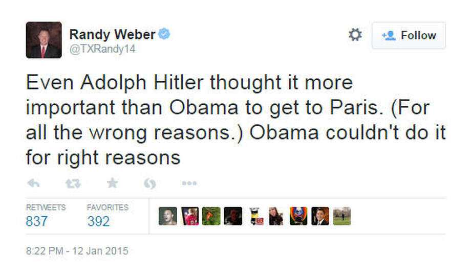 Rep. Randy Weber, R-Texas, was widely criticized after comparing Obama to Hitler on Twitter. Weber lambasted the White House for failing to attend a unity march in Paris, France, dedicated to the victims of the Jan. 7-9 terror attacks.Source: Twitter