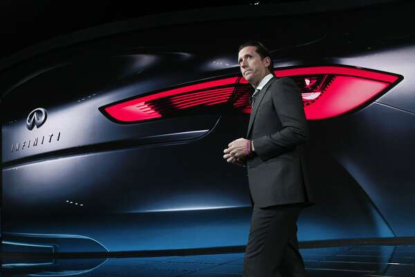 DETROIT, MI - JANUARY 13: Alfonso Albaisa, Infiniti Executive Director of Design, does a practice run-through before the official reveal of the Q60 Concept to the media at the 2015 North American International Auto Show on January 13, 2015 in Detroit, Michigan. More than 5000 journalists from around the word will see approximately 45 new vehicles unveiled. The 2015 NAIAS opens to the public January 17th and concludes January 25th.   (Photo by Bill Pugliano/Getty Images)