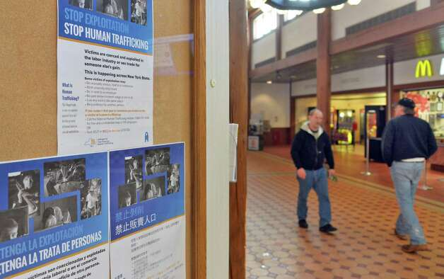 New posters in English, Spanish and Chinese at the Guilderland rest stop of the state Thruway to raise public awareness and bring attention to human trafficking in NY Tuesday Jan. 13, 2015, in Schenectady, NY.  (John Carl D'Annibale / Times Union) Photo: John Carl D'Annibale / 00030173A